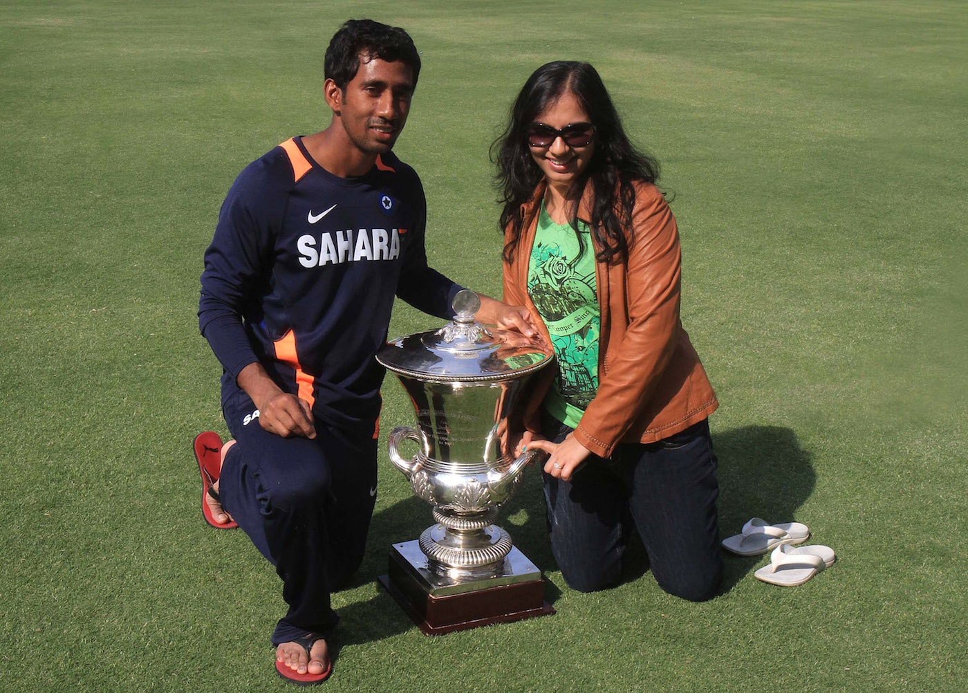 With his wife after East Zone's Duleep Trophy win in 2012