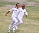 Nauman Ali and Faizan Riaz celebrate their team's sensational win, Northern (Pakistan) v Khyber Pakhtunkhwa, Quaid-e-Azam Trophy 2019-20, Karachi, day 4, December 5, 2019