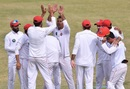 Nauman Ali celebrates a wicket with his teammates, Northern (Pakistan) v Khyber Pakhtunkhwa, Quaid-e-Azam Trophy 2019-20, Karachi, day 4, December 5, 2019