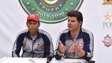 Northern captain Nauman Ali and coach Mohammad Wasim address the media