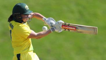 Rachel Trenaman playing for Australia in England