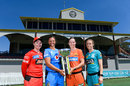 Eyes on the prize: Jess Duffin, Suzie Bates, Meg Lanning and Kirby Short with the WBBL trophy, Allan Border Field, December 6, 2019
