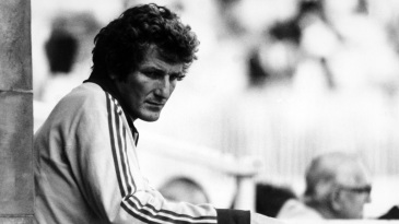 Bob Willis at the Lord's balcony during Pakistan's 1982 tour of England