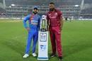 Kieron Pollard and Virat Kohli pose with the series trophy, India v West Indies, 1st T20I, Hyderabad, December 6, 2019