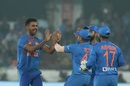 Deepak Chahar celebrates Lendl Simmons' dismissal, India v West Indies, 1st T20I, Hyderabad, December 6, 2019