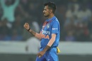 Yuzvendra Chahal is pumped after making a key strike, India v West Indies, 1st T20I, Hyderabad, December 6, 2019