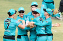 Brisbane Heat celebrate the early wicket of Sophie Devine, Brisbane Heat v Adelaide Strikers, WBBL final, Allan Border Field, December 8, 2019