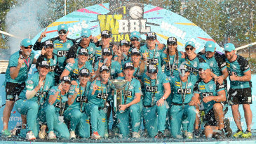 Brisbane Heat pose with the Women's Big Bash League trophy