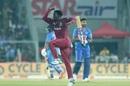 Hayden Walsh Jr celebrates a dismissal, India v West Indies, 2nd T20I, Thiruvananthapuram, December 8, 2019