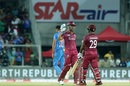 Lendl Simmons and Nicholas Pooran celebrate victory, India v West Indies, 2nd T20I, Thiruvananthapuram, December 8, 2019
