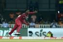Hayden Walsh completes his action, India v West Indies, 2nd T20I, Thiruvananthapuram, December 8, 2019