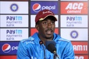 Hayden Walsh addresses the media after his team's series-leveling win, India v West Indies, 2nd T20I, Thiruvananthapuram, December 8, 2019