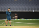 Justin Langer inspects the pitch at Perth Stadium, Perth, December 10, 2019