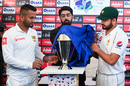 Dimuth Karunaratne and Azhar Ali unveil the Test series trophy, Rawalpindi, December 10, 2019