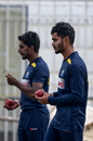 Dhananjaya de Silva and Lakshan Sandakan prepare to bowl at the nets, Rawalpindi, December 10, 2019