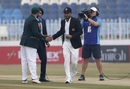 Dimuth Karunaratne shakes hands with Azhar Ali at the toss, Pakistan v Sri Lanka, 1st Test, Rawalpindi, Day 1