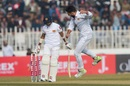 Usman Shinwari celebrates the wicket of Kusal Mendis, Pakistan v Sri Lanka, 1st Test, Rawalpindi, Day 1