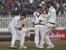 Mohammad Abbas celebrates a dismissal, Pakistan v Sri Lanka, 1st Test, Rawalpindi, Day 1