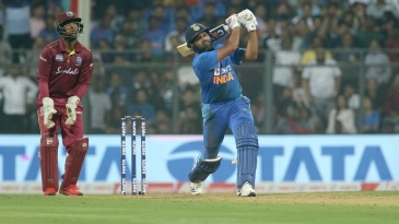 Rohit Sharma goes down the ground