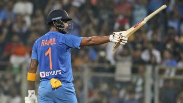 KL Rahul celebrates his fifty
