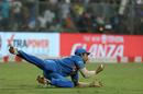 Shivam Dube pulls off a diving catch at third man to send back Nicholas Pooran, India v West Indies, 3rd T20I, Mumbai, December 11, 2019