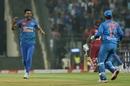 Deepak Chahar celebrates a wicket, India v West Indies, 3rd T20I, Mumbai, December 11, 2019