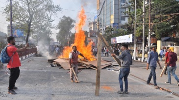 Violent scenes on the streets of Guwahati