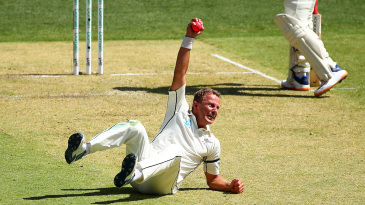 Neil Wagner celebrates a stunning caught and bowled