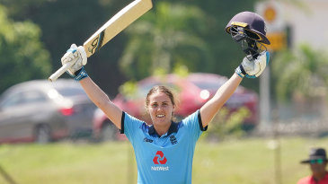 Nat Sciver celebrates her third ODI hundred