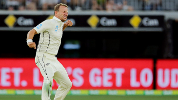 Neil Wagner roars in celebration after dismissing Steve Smith
