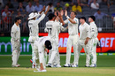 Tim Southee celebrates a wicket with his teammates, Australia v New Zealand, 1st Test, Perth, 1st day, December 12, 2019