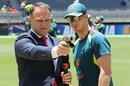 Michael Slater takes the pitchside temperature reading as Steven Smith looks on, Australia v New Zealand, 1st Test, Perth, 2nd day, December 13, 2019