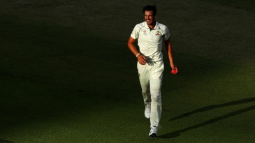 Mitchell Starc can't hide his delight after an early strike