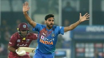 Bhuvneshwar Kumar appeals for a wicket