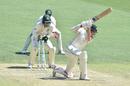 Mitchell Santner is bowled by a Marnus Labuschagne legbreak, Australia v New Zealand, 1st Test, Perth, 3rd day, December 14, 2019