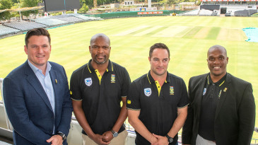 Graeme Smith, Enoch Nkwe, Mark Boucher and Linda Zondi at the unveiling of South Africa's new coaching structure