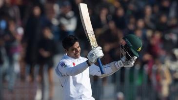 Abid Ali celebrates a fifty on debut