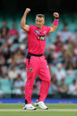 Tom Curran celebrates a wicket, Sydney Sixers v Perth Scorchers, BBL 09, Sydney, December 18, 2019