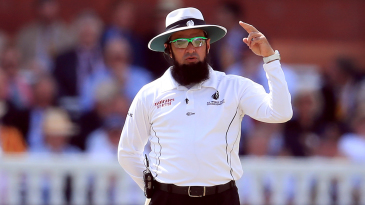 Umpire Aleem Dar stands in his 129th Test