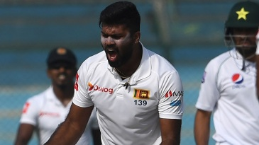Lahiru Kumara celebrates a wicket