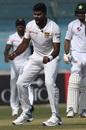 Lahiru Kumara celebrates a wicket, Pakistan v Sri Lanka, 2nd Test, Karachi, day 1, December 19, 2019