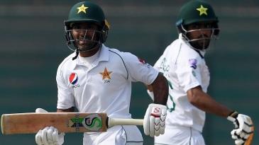 Asad Shafiq and Babar Azam run between the wickets