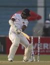 Dimuth Karunaratne chops one on to the stumps, Pakistan v Sri Lanka, 2nd Test, Karachi, day 1, December 19, 2019