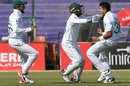 An ecstatic Mohammad Abbas after picking up a wicket, Pakistan v Sri Lanka, 2nd Test, Karachi, Day 2, December 20, 2019