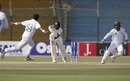 Mohammad Abbas wheels away in celebration after bowling Niroshan Dickwella, Pakistan v Sri Lanka, 2nd Test, Karachi, 2nd day, December 20, 2019