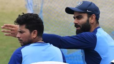 Virat Kohli and Kuldeep Yadav at a training session