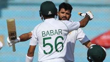 Babar Azam congratulates Azhar Ali on his hundred
