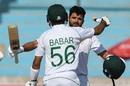 Babar Azam congratulates Azhar Ali on his hundred, Pakistan v Sri Lanka, 2nd Test, Karachi, 4th day, December 22, 2019