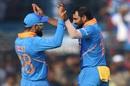Virat Kohli and Mohammed Shami celebrate, India v West Indies, 3rd ODI, Cuttack, December 22, 2019