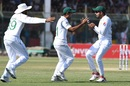 Asad Shafiq and Babar Azam celebrate the fall of a wicket in the slips, Pakistan v Sri Lanka, 2nd Test, Karachi, Day 4, December 22, 2019